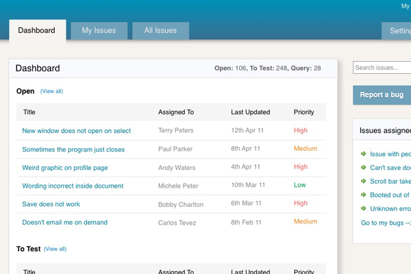 User Interface Design for bug reporting app
