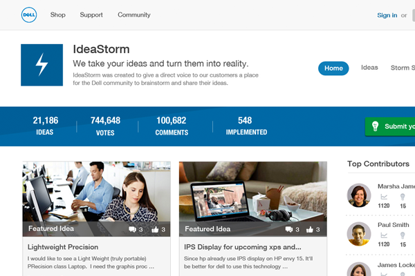 Dell Idea Storm website redesign